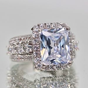 Sterling Silver 925 Radiant Cut Halo White Topaz